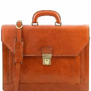 Leather Executive Briefcase Honey  - Tuscany Leather -