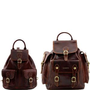 Leather Travel Set Backpack Vintage Trekker Brown - Tuscany Leather –