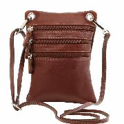 Small Cross Bag for Men or Women Brown - Tuscany leather -