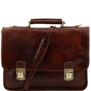 Leather Briefcase 2 Compartments for Men or Women Brown - Tuscany Leather -