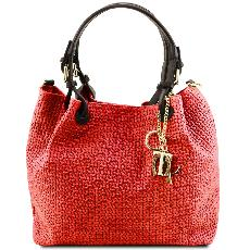 Woven Printed Leather Shopping Bag for Women Red - Tuscany Leather –