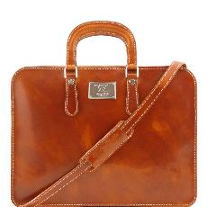 Leather Briefcase for Women Honey - Tuscany Leather