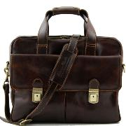 Leather Business Laptop Bag Reggio Emilia Brown - Tuscany Leather -