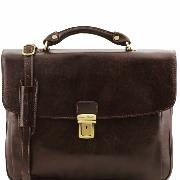 Leather Briefcase for Laptop Dark Brown - Tuscany Leather -