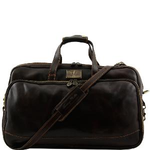 Leather Trolley Travel Bag with Retractable Handle Dark Brown - Tuscany Leather -