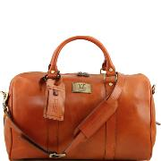 Travel Leather Bag with pocket on the backside - Tuscany-Leather-