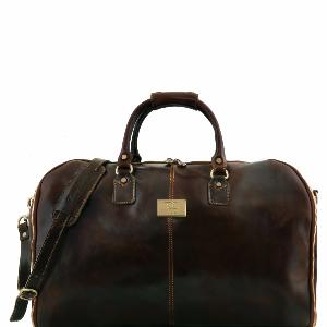 Leather Garment Travel Bag Matt Dark Brown  -Tuscany Leather -