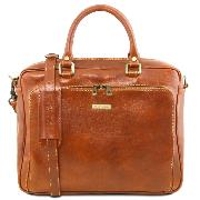 Leather Briefcase for Laptop Honey  -Tuscany Leather-