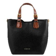Leather Tote Handbag Black for Woman - Tuscany Leather -