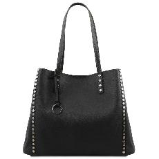 Soft Leather Shopping Bag for Women Black - Tuscany Leather –