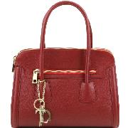 Leather Handbag for Women with Compartments Red - Tuscany Leather -
