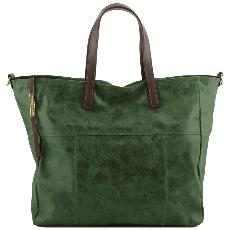 Leather Aged Effect Large Bag for Women Green - Tuscany Leather -