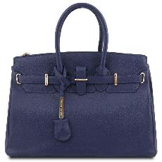 Hammered Leather Blue Handbag for Women - Tuscany Leather -