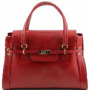 Lady Classic Handle Bag uk Red - Tuscany Leather -