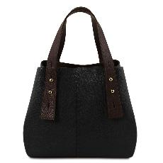 Leather Shopping Bag for Women Black - Tuscany Leather -
