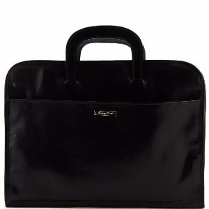 Leather Document Briefcase Black - Tuscany Leather -