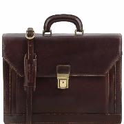 Leather Executive Briefcase Dark Brown  - Tuscany Leather -