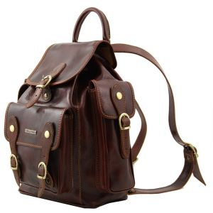 Leather Backpack Vintage Pechino Brown -Tuscany Leather-